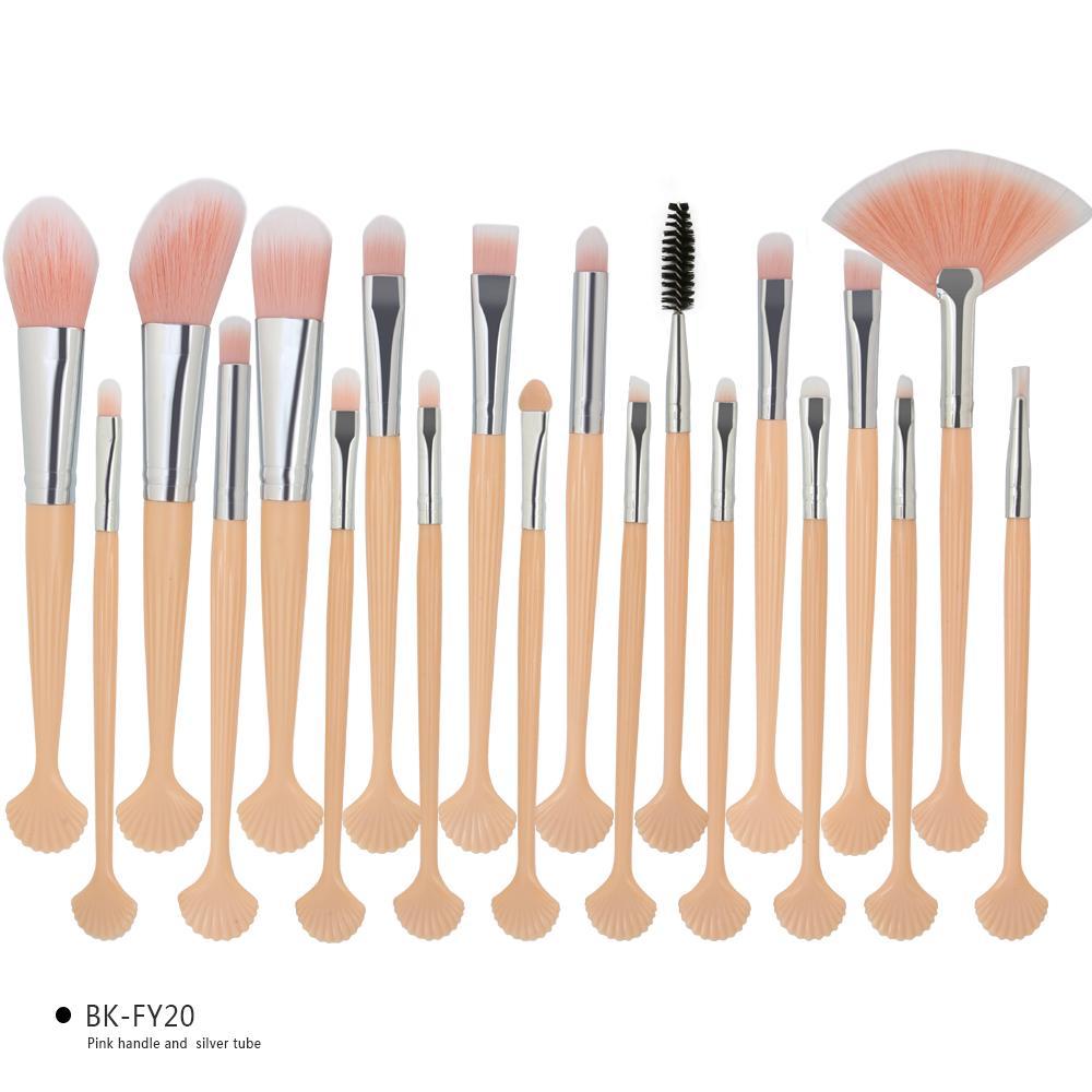 20PCS Makeup Brushes Set Eyeshadow Eeybrow Eyeliner Eyelash Powder Concealer Countour Foundation Lip Cosmetic Shell Make up Brush Tools Kit