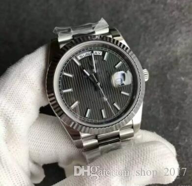 Новый президент Мужские часы Sweep Автоматическое движение Механический день - серебристый Stainess Sapphire серый лицо Оригинальная застежка мужские часы 22