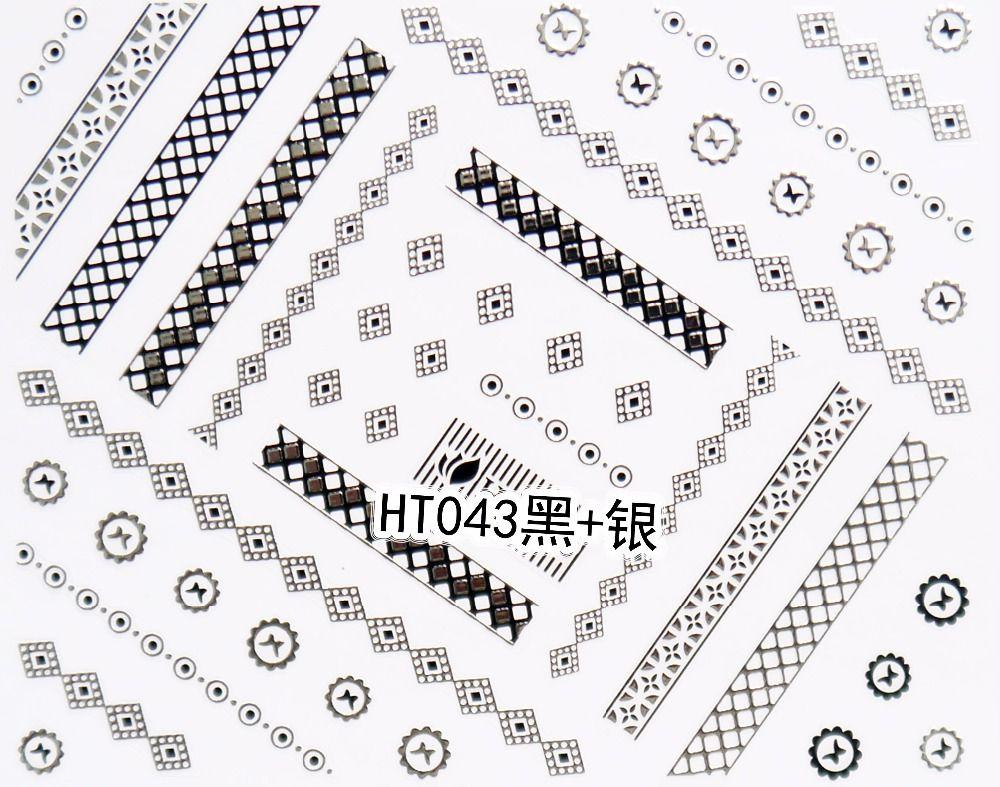 50 pçs / lote Frete grátis HT043-048 forma branco / ouro branco / prata preto / ouro preto / prata 3D unhas adesivos