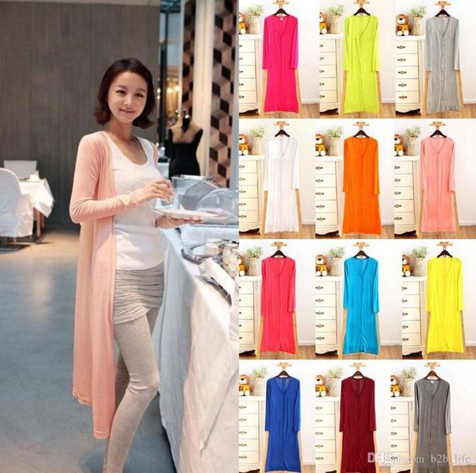 Hırka Şeker Renk Dış Giyim Kadın Ceketler Vintage Ceket Modal Şal Klima Gevşek Kazak Casual Bluz Kazak Tops 12 Renk OOA3924