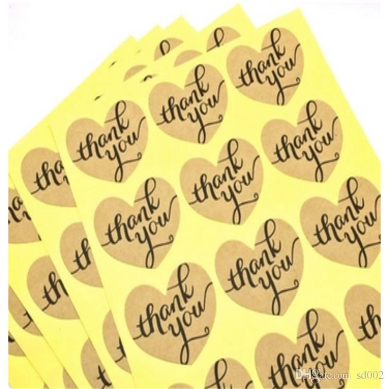 Grazie a forma di cuore fai da te Adesivi regali Circle a mano torta di imballaggio di tenuta Label Kraft Adesivo cottura Strumenti 0 bb 2XL