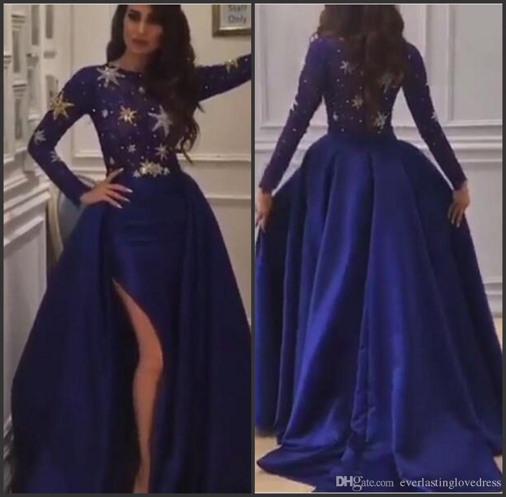 ثوب الكرة ساتان أزرق داكن السامي الشق طويل الأكمام الرباط الأعلى انفصال تنورة فساتين السهرة رداء سواريه دبي