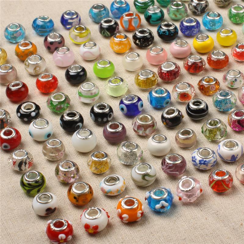 I monili del braccialetto 50PCS di vetro allentato perline pendenti di fascino di Murano branelli del foro misura per la collana Omaggio di Natale fai da te accessori DHL