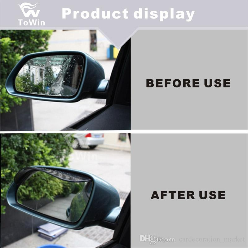 2 Pcs Smoked Black Mirror Rain Visor Smoke Guard Rear View Side Mirror Rain Eyebrow Rear View Mirror Visor Guard for Most Car Truck and SUV