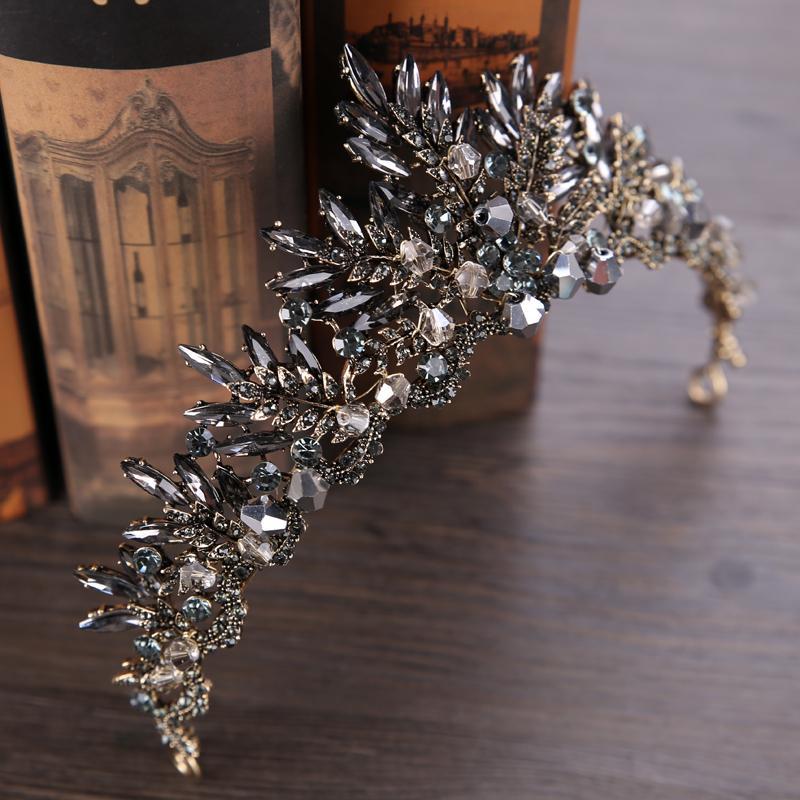 Duolafine Joyería Nupcial Del Pelo Vintage Barroco Plata Color Negro Rhinestone Crystal Queen Corona de la boda tiara Accesorios Para el Cabello C18110801