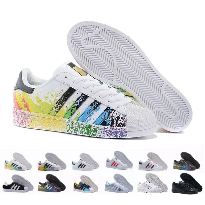 2018 Hot Barato Superstar 80 S Das Mulheres Dos Homens Sapatos de Basquete Casuais Sapatos de Skate 17 Cor Rainbow Splash-tinta Moda Calçados Esportivos tamanho 36-44