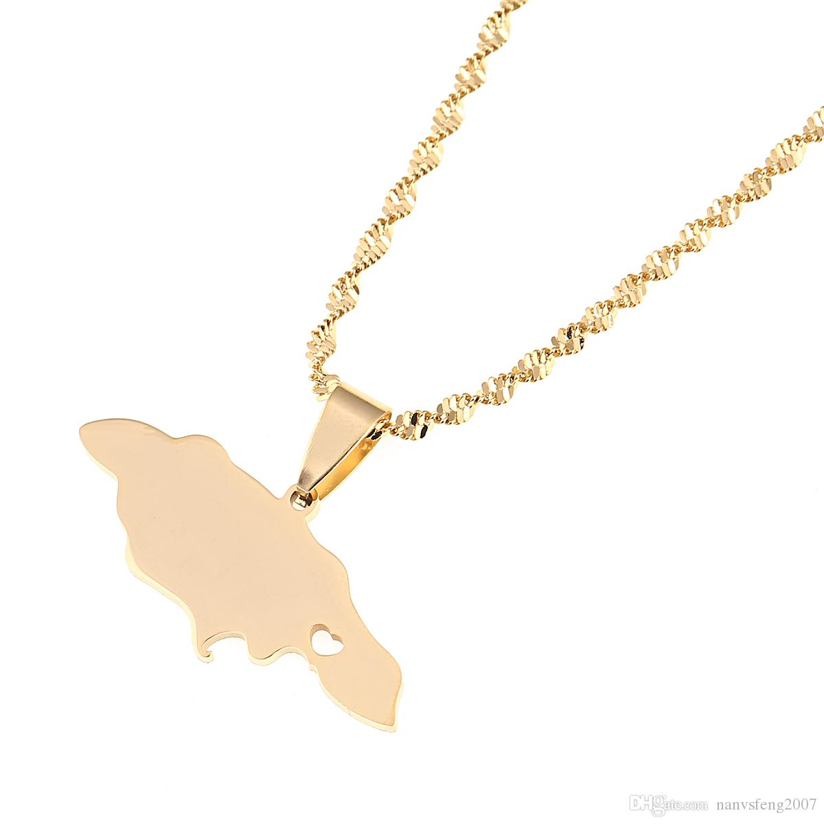 Edelstahl-Herz-Jamaika-Karten-hängende Halsketten für Frauen- / Mädchen-Goldfarben-Schmuck-jamaikanische patriotische Geschenke