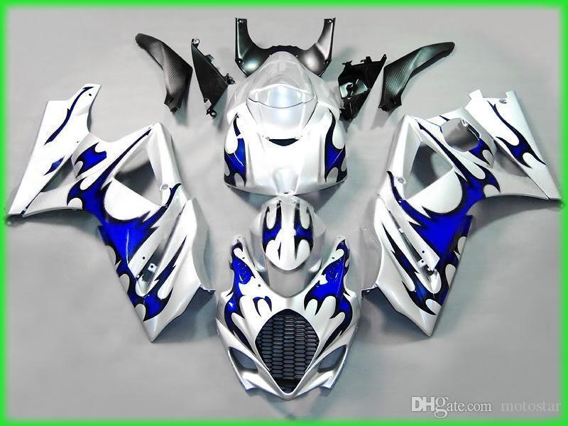 7 Gifts Fooring Kit dla Suzuki GSXR1000 07 08 Białe Blue Flames Office Set GSXR1000 2007 2007 DP89
