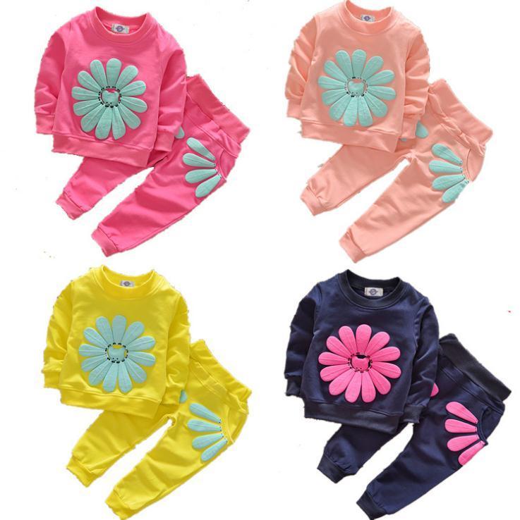 Niño de los cabritos de los bebés Trajes ropa del otoño tapas de la camiseta Dress + pants 2pcs de ropa de los niños