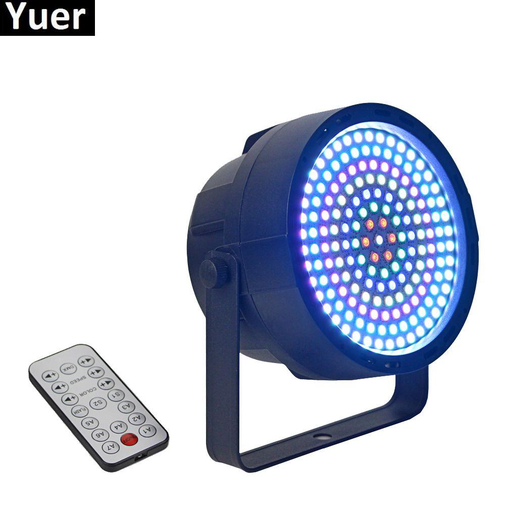 NOVO Remote Control 169Pcs RGB 3IN1 SMD 5050 LEDS plana Par luzes DMX Par Cans Professional Stage Dj Equipamentos LED Disco Light