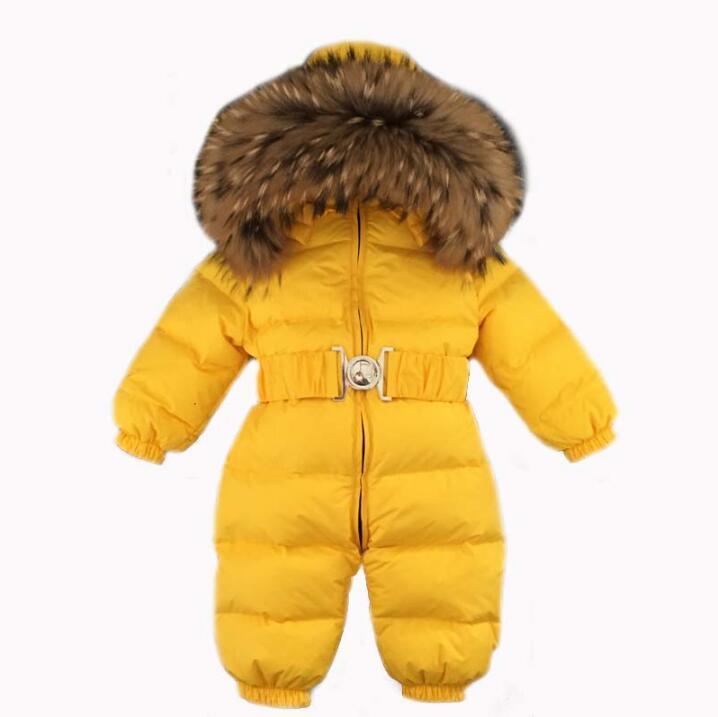روسيا الشتاء الطفل snowsuits الاطفال بذلة عقد -25 18 متر -4 طن بوي بنات الدافئة الفراء الطبيعي أسفل سترة الاطفال ملابس infantil