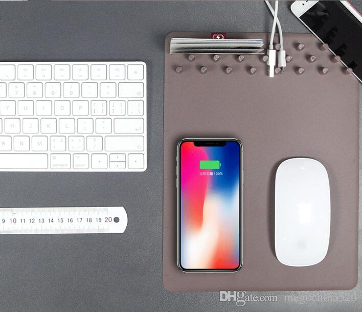Multi-function Wireless Qi Charger Mouse Pad Mat for iPhone X 7 8 Universal Mobile Phone iphone Samsung Android Smart Devices Desk Organizer