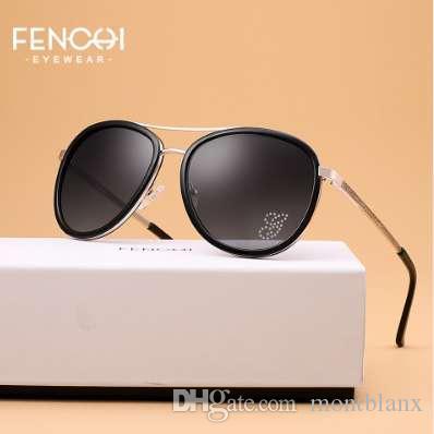 Gafas de sol FENCHI Women Driving Pilot Gafas de sol de moda clásica Alta calidad Metal Brand Designer Diamonds Round Glasses