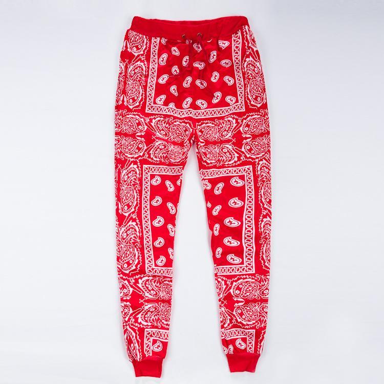 corredores Wholesale-mens pantalones de deporte Swag de pantalones hombre de azul mujeres corredores pañuelo pantalones para hombre de hip hop pantalones rojos unisex streetwear