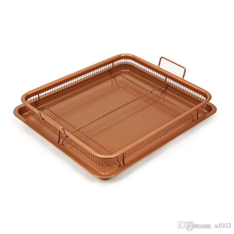 Pratique Petit Air Friteuse Maille Panier Cuivre Rectangle Croustillant Plateau Ménage Cuisine Cuisson Pan Outils Facile Carry 29dp cc