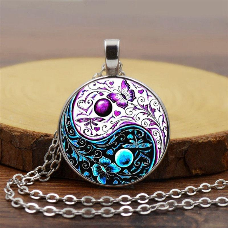 Cabochon Glass Pendant Chain Necklace Jewelry Mystical Butterfly Silver Pendant