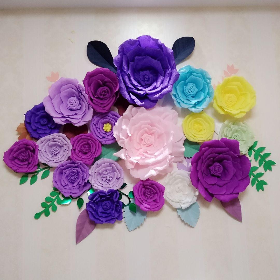 19 ADET 22 ADET Ile Çeşitli Krep Kağıt Çiçek Set Yapraklar Galeri Duvar Düğün Dekor Kreş kızın Odası Çiçek Kreş Dekor