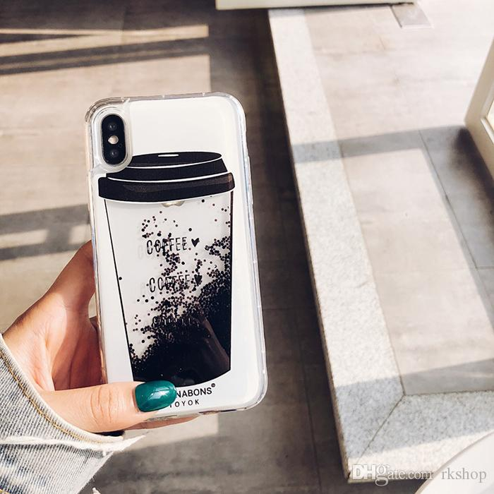 For Iphone 11 Pro Max X Case Liquid Coffee Glitter Quicksand Cover ...