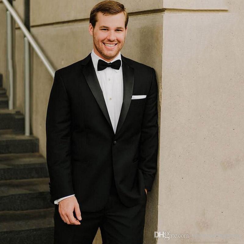 2018 Мужских костюмы Свадебной Black Зубчатого отворота костюмы Жених Blazer сшитого Slim Fit Формального Tuxedos шафер выпускной вечер платье 2piece