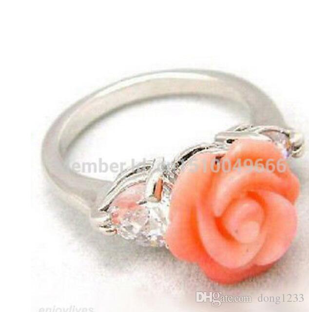 SPEDIZIONE GRATUITA Pink Coral Flower White STONE Crystal Ring Misura 7.8.9