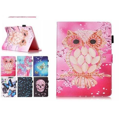 Color Mix Farfalla gufo PU Custodia in pelle Portafoglio Flip Card Slot Custodie Custodia per Samsung Galaxy Tab T280 T230 T550 T560 T580