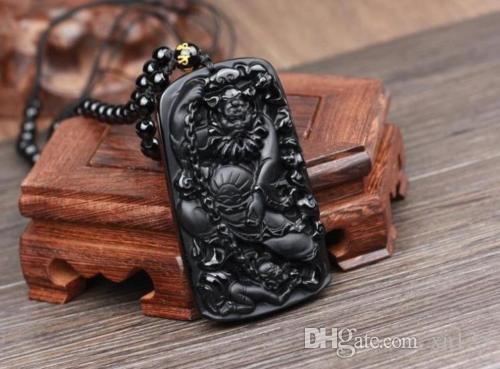 natürliche Obsidian Hand geschnitzt Buddha schwarz guanyin Zen Meditation Yoga-Anhänger