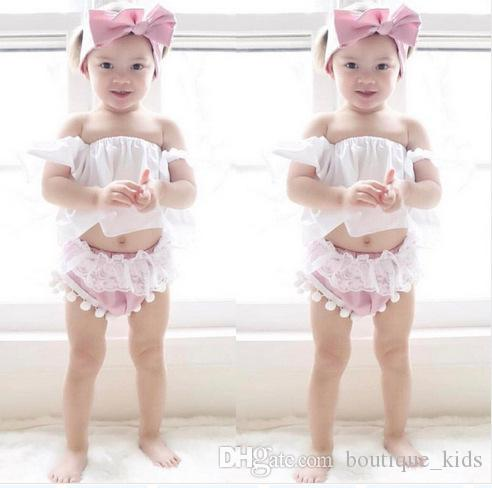 Newborn Baby Girl Clothes Summer Infant Clothes Ruffle Tops +Lace Tassel Shorts Bottoms +Headband 3Pcs Cotton Kids Toddler Girls Outfit Set