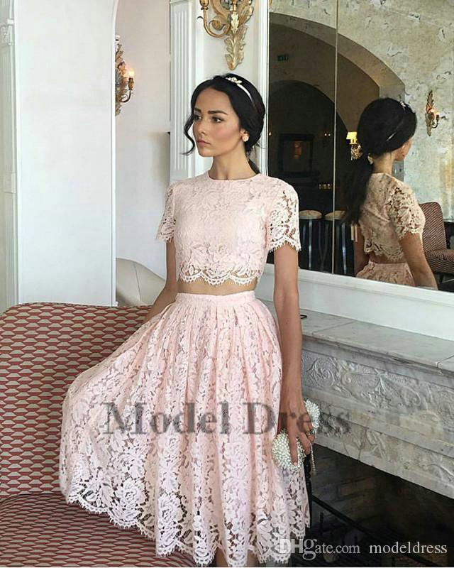 Lace Pink Two Pieces Prom Dresses A Line Short Sleeves Knee Length Elegant Girls Homecoming Dresses for Party Formal Evening Gowns