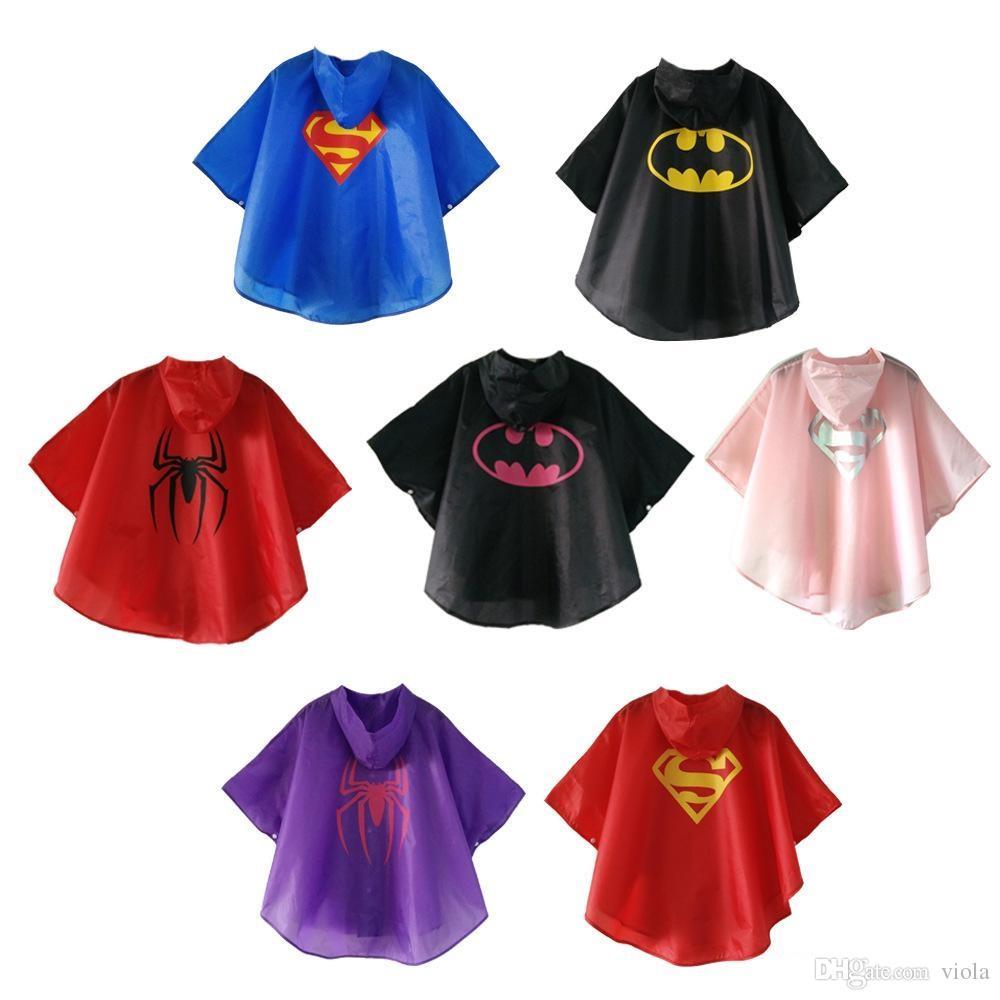 Hot Sale 7 styles New Kids Rain Coat children Raincoat Rainwear Rainsuit boys girls Kids Waterproof Superhero Raincoat
