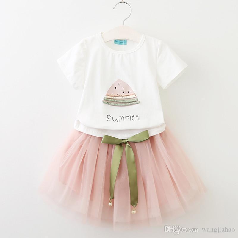 Baby girls dresses suit 2018 INS explosion models children's clothing summer girls T-shirt + mesh skirt suit