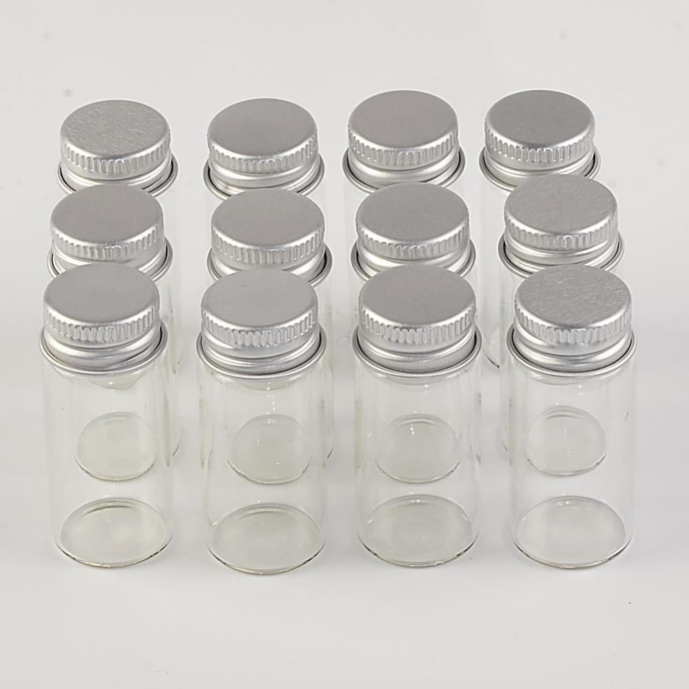 10ml Mini Glass Bottles With Metal Cap Empty Small Wishing Bottle Glass Vials Jars3
