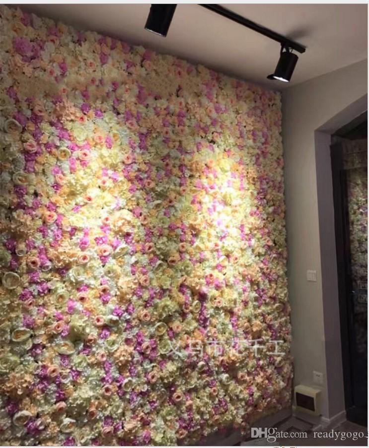 60X40CM Flower Wall Silk 3D floral Rose Tracery Wall Encryption Floral Background Artificial Flowers Creative Wedding Stage