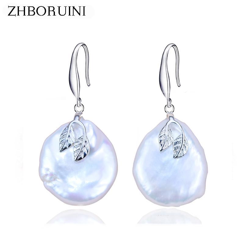 venta al por mayor 2018 pendientes de perlas barroco perlas de agua dulce naturales 925 perlas de plata cuelga la joyería del pendiente para mujer regalo