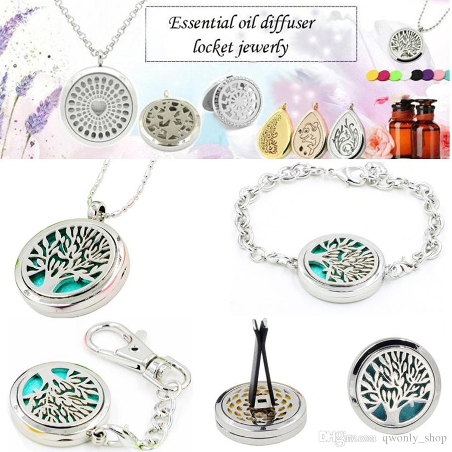 Essential Oil Diffuser Car Perfume Clip Portable Pendant Keychain Locket Necklace Bracelet with felt pads Fashion Jewellery 98 styles