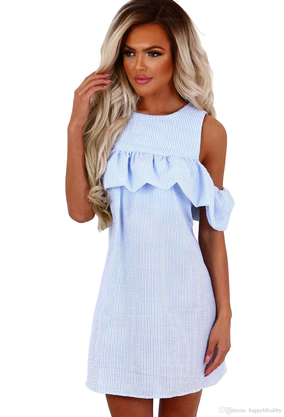 Seersucker Dress Women Ruffle Sleeve Shirts Stripe Shoulder Off