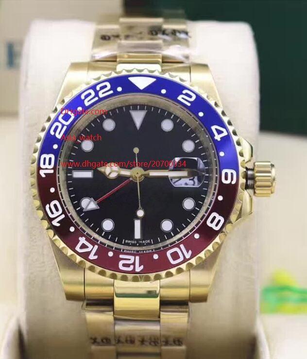 Luxo de Alta Qualidade Assista 40mm GMT 116710 116713 116713 116719 Ouro Ásia 2813 Movimento Automático Mecânico Mens Relógios 4 Cor