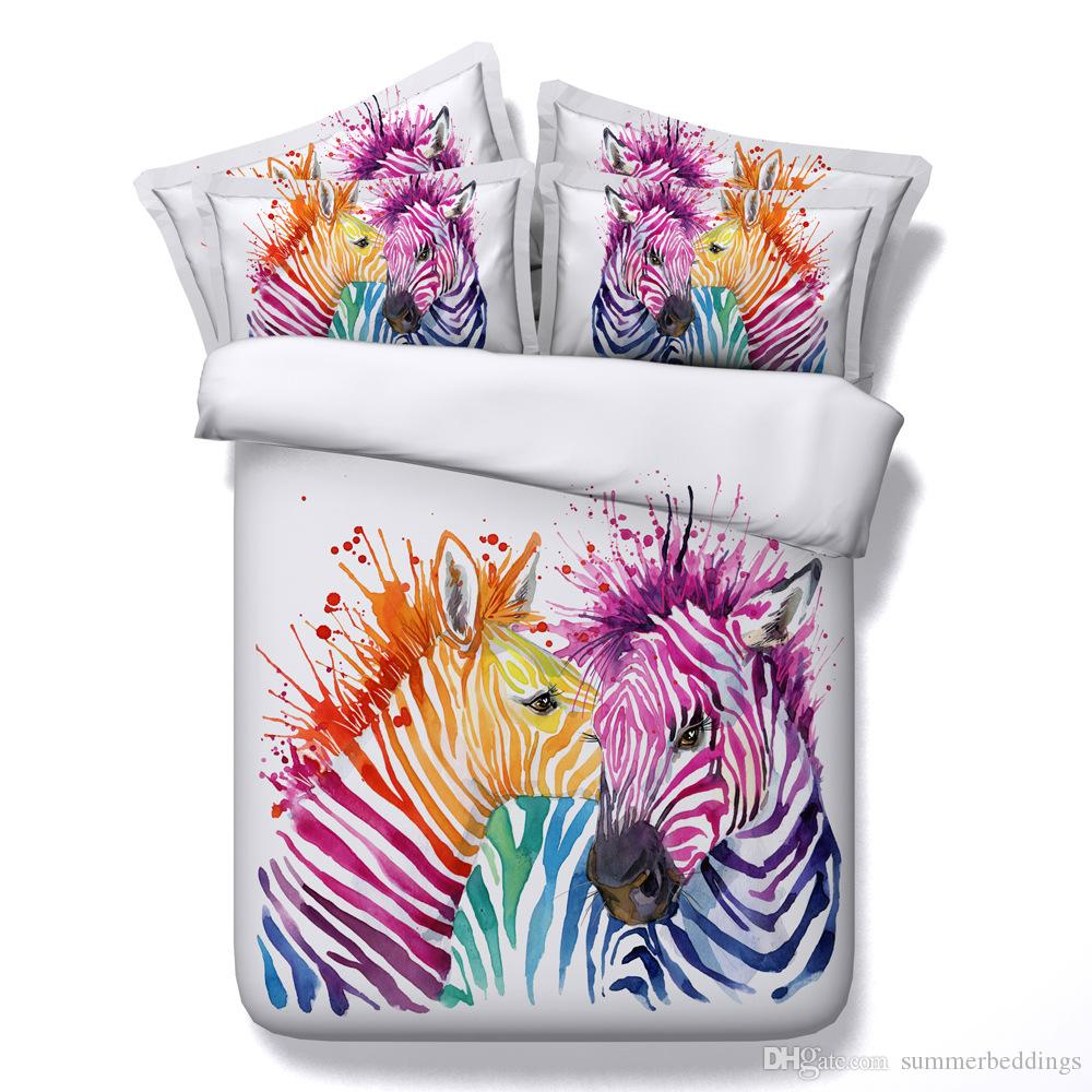 3D Watercolor zebra bedding sets queen christmas duvet cover single twin king cal king size striped bedlinens bedspreads for adults kids