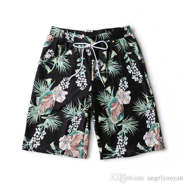 2018 summer Mens Surf Board Beach Wear Swimwear Brand Maple leaf printing Breathable fabric Swimsuit Thicker lining Fifth Pants