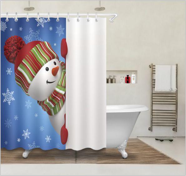 New Style Snowman 3D Print Custom Waterproof Bathroom Modern Shower Curtain Polyester Fabric Bathroom Curtain Door mat sets