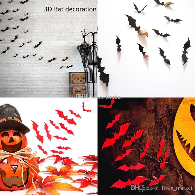 Halloween Decorations 3D Bats black DIY Wall Stickers PVC Decorative Wall Sticker for Home party Halloween Eve Halloween Decor WX-S03