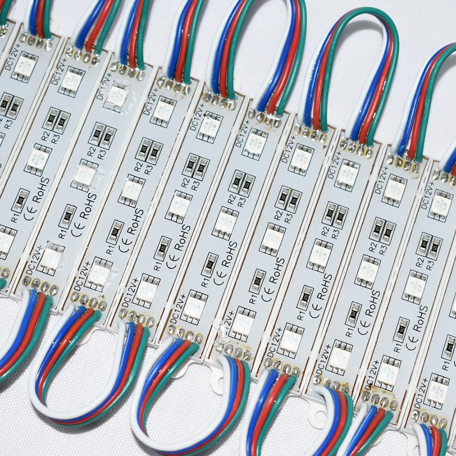 50 шт. / Лот DC12V 5050 3LEDs RGB светодиодный модуль свет IP65 Водонепроницаемый крытый наружной рекламы лампа светодиодная подсветка знака