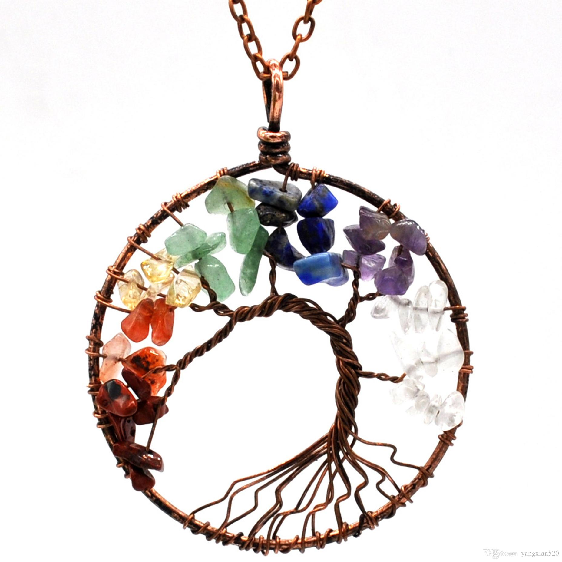 Exquisite fashion sedmart Tree of Life Pendant Amethyst Rose Crystal Necklace Gemstone Chakra Jewelry wholesale retail