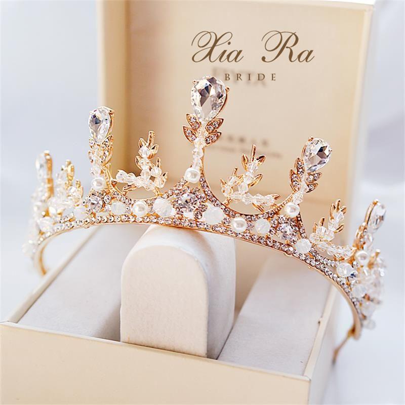 Luxe Cristaux Sparkly Couronnes de mariage strass Perles Accessoires cheveux de mariée Couronne et diadèmes Livraison rapide En stock