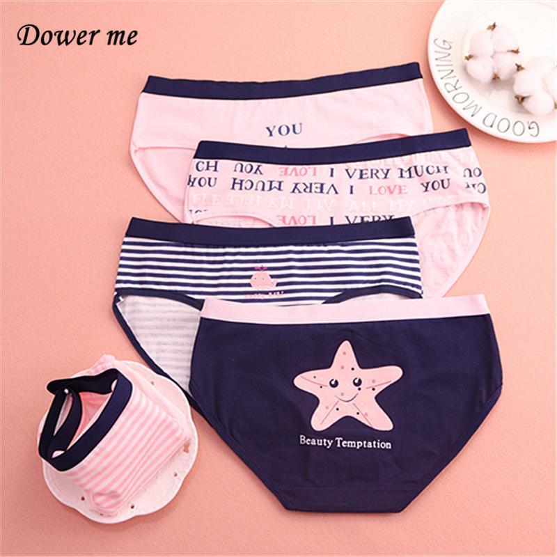 Algodão dos desenhos animados Briefs 12pcs / lot Mulheres da menina Confortável Mid cintura Calcinhas fêmeas respirar livremente Underwear W013