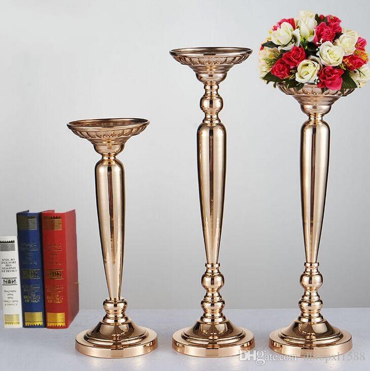 Wedding Favor Candle Holder Golden Color Radish Column Ornament Flower Stands Stage Main Table Vase Support For Home Decorations