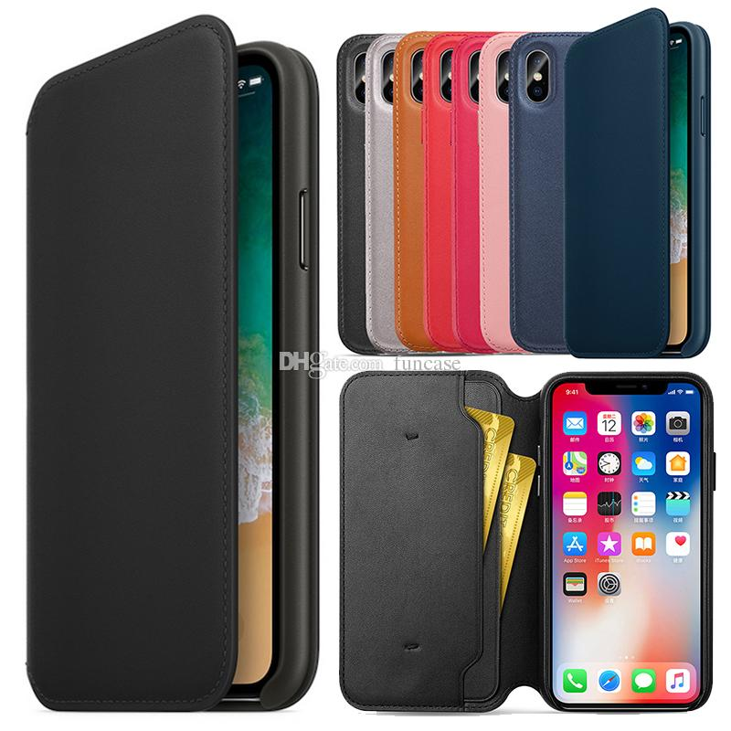 Have LOGO Original Official PU Leather Folio Wallet Smart Case Card Slot Auto Sleep Function Flip Cover For Apple iPhone XS Max X Retail Box