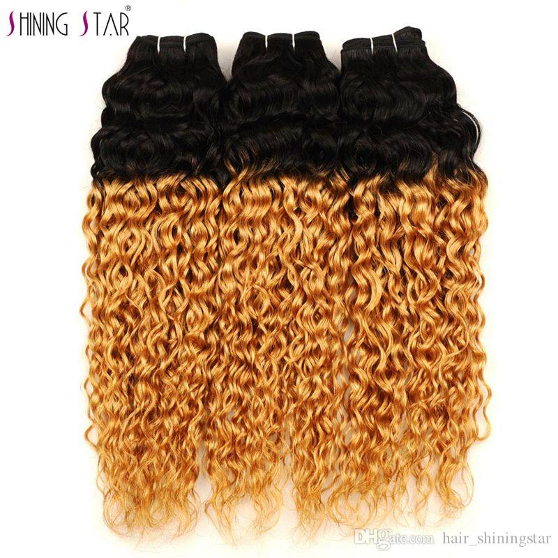 Water Wave Non-remy Brazilian Hair Weave 3 Bundles Ombre Honey Blonde 1B 27 Wet Wavy 100 Human Hair Extension Weft