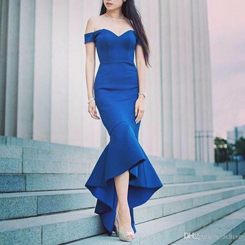 Omuz Mavi Saten Mermaid Gelinlik Modelleri Ucuz Abiye Kapalı Örgün Parti Elbise Vestido de Fiesta Kadınlar Gelinlik Modelleri 2020