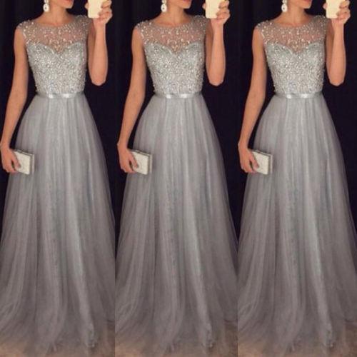 2018 New Style Sequin Women Gray Lace Long Dress Summer Sleeveless Party Evening Formal Wedding Ball Gown Maxi Dress