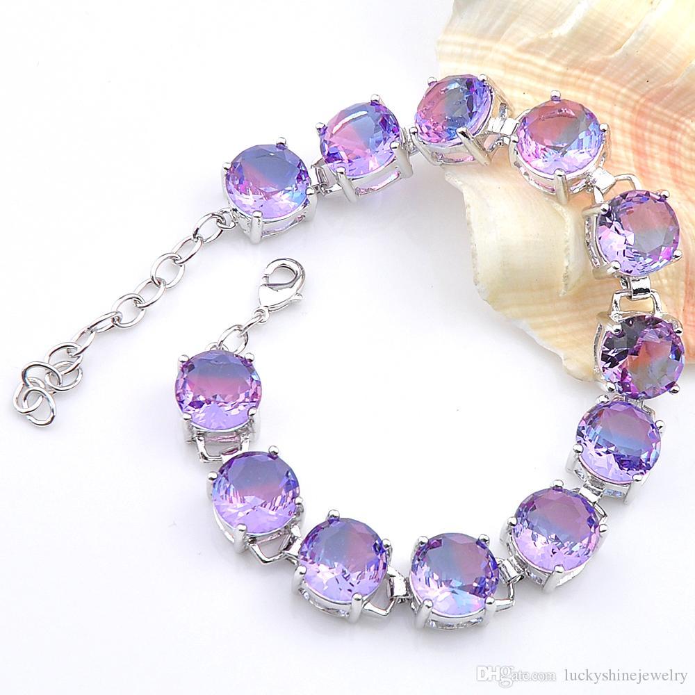 Luckyshine Nueva Joyería de Moda Brillo Púrpura Ronda Turmalina Cristal Zircon Joya de Plata Pulseras de Cadena Para Mujer Pulseras de Cadena de Eslabones de Boda